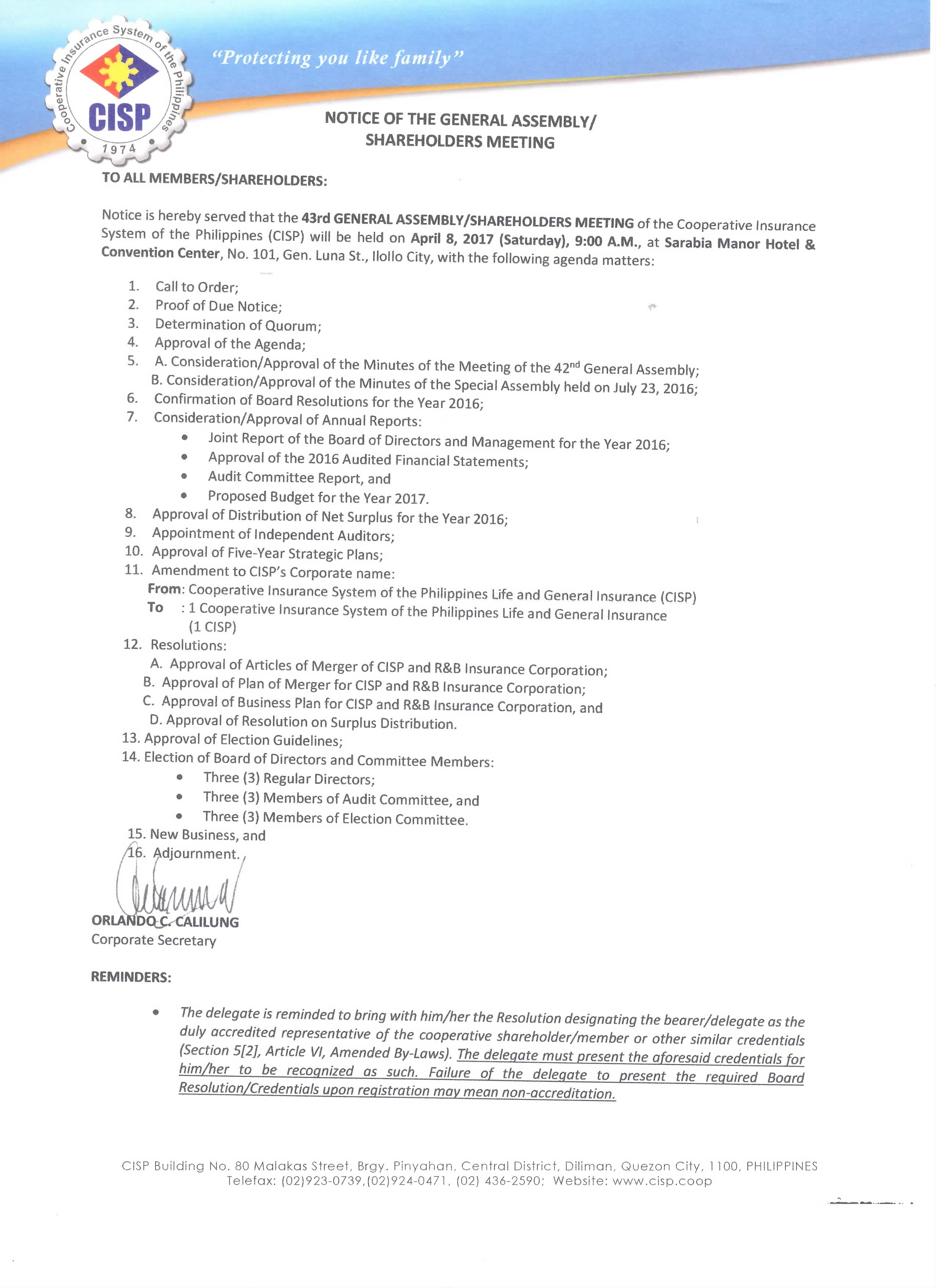 notice of the general assembly
